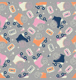 seamless pattern with roller skates and cassettes vector image vector image