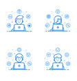 set blue flat linear and vector image vector image
