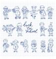 set carton doodle kids vector image vector image