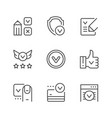 set line icons approval vector image vector image