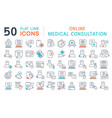 set line icons online medical consultation vector image