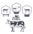 Set of cow labels vector image