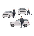 set of hijacker wearing black clothes and mask vector image vector image