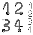 shoe lace numbers 1 2 3 4 vector image vector image