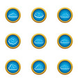 sky icons set flat style vector image