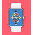 Smart watch design in line art style with app icon vector image