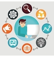 social media concept - project manager vector image