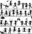 Stylized hand drawn children playing vector image vector image