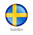 sweden round button flag vector image vector image