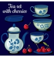 Tea set of porcelain on a blue background