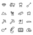 thin line icons - mining vector image