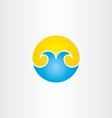 water waves with sun summer icon vector image vector image