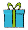 gift box wrapped bow ribbon decoration icon vector image