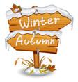 winter wooden arrow icon vector image