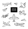 set of airplanes hand-drawn vector image