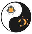 sun and moon in ying yang symbol vector image