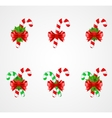 Set of traditional Christmas candy cane decoration vector image