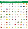 100 country house icons set cartoon style vector image vector image