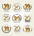 20 years anniversary logo set vector image