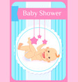 bashower greeting card child play with mobile vector image vector image