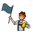 bavarian man with beer and flag vector image vector image