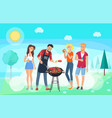 bbq party time summer meadow friends meeting vector image