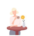 beautiful blonde girl sitting at table and vector image vector image