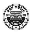 Boombox hip-hop music round black emblem