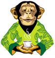 chimp in green kimono holding cup tea vector image vector image