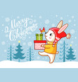 christmas card with a hare which carries gifts vector image vector image