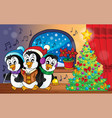 christmas penguins theme image 3 vector image vector image