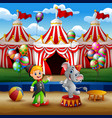 circus elephant and trainer on the arena with circ vector image vector image