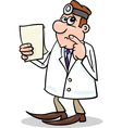 concerned doctor cartoon vector image vector image