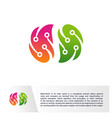 connected brain logo template technology brain vector image vector image