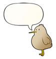 cute cartoon kiwi bird and speech bubble vector image vector image