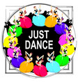 dancing couples frame bright pattern people vector image