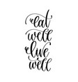 eat well live well - hand lettering inscription vector image