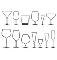 empty wineglasses and glasses of different shapes vector image