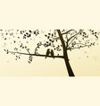 enamored birds sitting on a tree in a romantic vector image