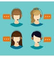 Female call center avatar icons vector image vector image