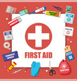 first aid kit with medical equipment vector image vector image