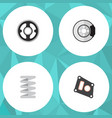 flat component set of metal crankshaft belt and vector image vector image