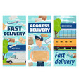 freight and parcels mail delivery mailman vector image