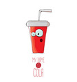 funny cartoon cute red party paper cola cup vector image vector image