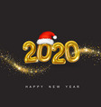 gold metallic numbers 2020 happy new year vector image