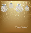 golden xmas postcard with balls vector image vector image