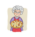 grandma with her best pizza vector image