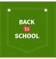 Green denim jeans pocket dash line Back to school vector image