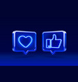 hand and heart like neon icon sign follower 3d vector image vector image