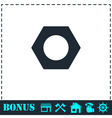 Hex nut icon flat vector image vector image